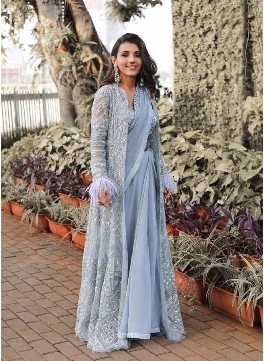 Designer Jacket Style Fancy Saree