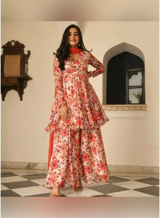 Palazzo Bottoms Teamed Up With Floral Printed Kurta